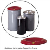 Justrite Medium Red Steel Cease-Fire Drum Head for 30 gal drum bodies