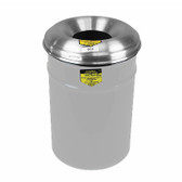 Justrite Steel Cease-Fire Waste Drum, Aluminum Head, 15 gal