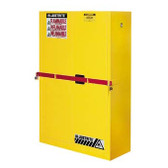 Justrite 45 gal High Security Flammable Safety Cabinet yellow manual
