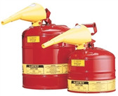 Justrite 7125110 Type I Safety Can, 2.5 gallon, Steel with Funnel