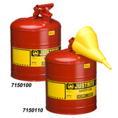 Justrite 7150100 Type I Safety Can, 5 gallon Steel