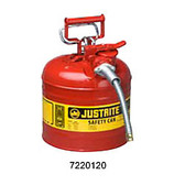 "Justrite Safety Can, 2 gal, Steel Type II AccuFlow, 5/8"" Hose"