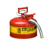 "Justrite Safety Can, 2.5 gal, Steel Type II AccuFlow, 1"" Hose"