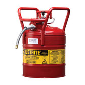"Justrite Steel Type II AccuFlow DOT Safety Can, 5/8"" Hose, 5 gal"