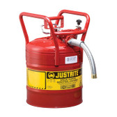 "Justrite Type II AccuFlow DOT Safety Can, 1"" Hose, 5 gal"