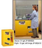 "Justrite Flammable Safety Cabinet for Under Fume Hood 24"" yellow manual"