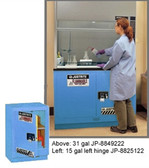 "Justrite Acid Fume Hood Cabinet, ChemCor Lined 15 gal 24"" blue LH self- close"