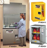 "Justrite Flammable Safety Cabinet for Under Fume Hood 36"" manual silver"