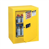 Justrite Flammable Aerosol Cabinet, 4 gal (holds 24 cans) yellow manual