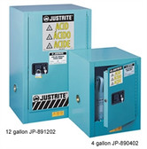 Justrite 891222 Acid Compac Cabinet, 12 gallon blue self-closing
