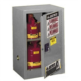 Justrite 891223 Flammable Compac Cabinet, 12 gallon gray self-closing