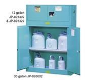 Justrite 891322 Acid Piggyback Cabinet, 12 gallon blue self-closing