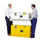 Justrite Flammable Piggyback Cabinet, 12 gal white self-closing