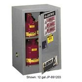 Justrite 891523 Flammable Compac Cabinet, 15 gallon gray self-closing
