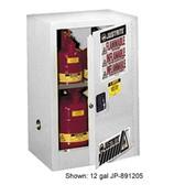 Justrite 891525 Flammable Compac Cabinet, 15 gallon White self-closing