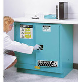 Justrite Under-Counter Acid Cabinet, 22 gal blue self-closing