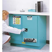 Justrite Under-Counter Acid Cabinet, 22 gal, ChemCor Liner blue self-closing
