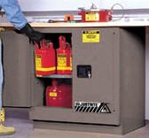 Justrite Under-Counter Flammable Cabinet, 22 gal gray self-closing