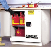 Justrite Under-Counter Flammable Cabinet, 22 gal white self-closing