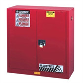 Justrite 893001 Flammable Safety Cabinet, 30 gallon red manual