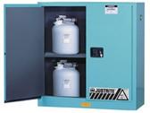 Justrite Acid Cabinet, 30 gal, ChemCor Liner blue self-closing