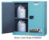Justrite Acid Cabinet, 30 gal, ChemCor Liner blue self-close, Sliding Door