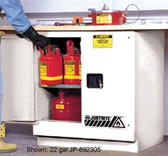 Justrite Under-Counter Flammable Cabinet, 30 gal white, manual