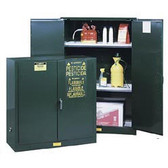Justrite Pesticide Storage Cabinet, 45 gal green, self-closing