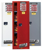 Justrite Flammable Cabinet, 54 gal Deep Slimline red, self-closing