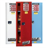 Justrite Flammable Cabinet, 54 gal Deep Slimline blue, self-closing