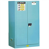 Justrite Acid Safety Cabinet, 60 gal blue, self-close, Sliding Door