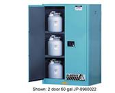 Justrite Acid Cabinet, 60 gal, ChemCor Liner blue self-closing, sliding door