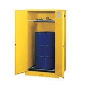 Justrite Flammable Drum Cabinet, 55 gal, Rollers, manual