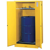 Justrite Flammable Drum Cabinet, 55 gal, Rollers, self-closing