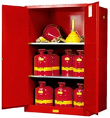 Justrite 899021 Flammable Safety Cabinet, 90 gallon red, self-closing