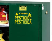 Justrite Pesticide Storage Cabinet, 90 gal green, self-closing