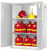 Justrite 899025 Flammable Safety Cabinet, 90 gallon white, self-closing