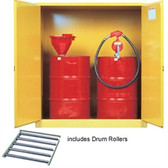 Justrite Flammable Cabinet w/ rollers for (2) 30 gal drums, self-closing