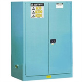 Justrite Acid Safety Cabinet, 90 gal blue, self-close, Sliding Door