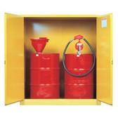 Justrite Flammable 2-Drum Safety Cabinet for 55 gal drums, manual