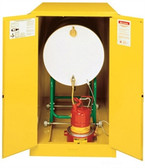 Justrite 899300 Flammable Drum Cabinet, 55 gallon yellow, manual
