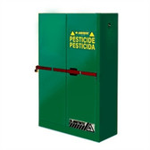 Justrite High Security Safety Cabinet, 45 gal for Pesticides green self-closing