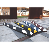 "Park-It Garage Parking Stop, 72"" Rubber w/ Stripe"