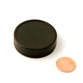 43mm (43-400) Black Polypropylene Heat Seal Lined Ribbed Cap