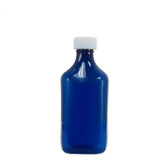 Oval Pharmacy Bottle, Blue, Graduated, Child-Resistant, 12oz, case/100