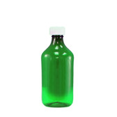 Oval Pharmacy Bottle, Green, Graduated, Child-Resistant, 12oz, case/100