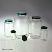 Wide Mouth Glass Bottle, 4 Liter (128 oz) Clear, No Caps, case/4