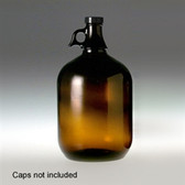Amber Glass Jug, 4 Liter (128 oz) No Caps, case/6