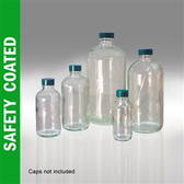 Safety Coated Glass Bottle, 32oz, Boston Round, No Caps, case/12