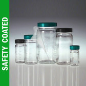 Safety Coated Glass Jar, 16oz, Medium Round, No Caps, case/48